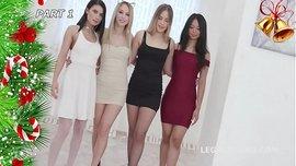 حفلة نيك في عيد الكريسماس مع أربع فتيات جميلات من روسيا